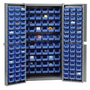Bin Cabinet with 162 Blue Bins, 38x24x72