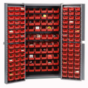 Bin Cabinet with 162 Red Bins, 38x24x72