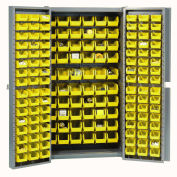 Bin Cabinet with 162 Yellow Bins, 38x24x72