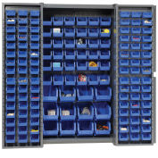 Bin Cabinet with 114 Blue Bins, 38x24x72