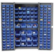Bin Cabinet with 136 Blue Bins, 38x24x72