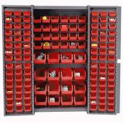 Bin Cabinet with 136 Red Bins, 38x24x72