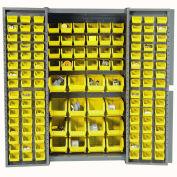 Bin Cabinet with 136 Yellow Bins, 38x24x72