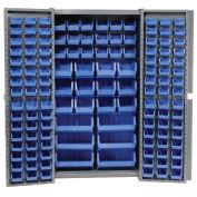 Bin Cabinet with 132 Blue Bins, 38x24x72