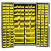 Bin Cabinet with 132 Yellow Bins, 38x24x72