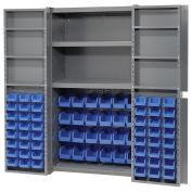Bin Cabinet with 72 Blue Bins, 38x24x72