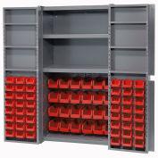 Bin Cabinet with 72 Red Bins, 38x24x72