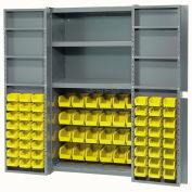 Bin Cabinet with 72 Yellow Bins, 38x24x72