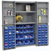 Bin Cabinet with 68 Blue Bins, 38x24x72