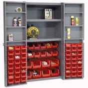 Bin Cabinet with 68 Red Bins, 38x24x72