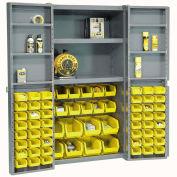 Bin Cabinet with 68 Yellow Bins, 38x24x72