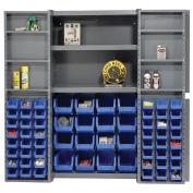 Bin Cabinet with 64 Blue Bins, 38x24x72