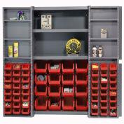 Bin Cabinet with 64 Red Bins, 38x24x72