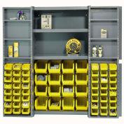Bin Cabinet with 64 Yellow Bins, 38x24x72