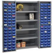 Bin Cabinet with 96 Blue Bins, 38x24x72