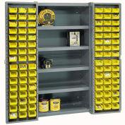 Bin Cabinet with 96 Yellow Bins, 38x24x72