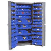 Bin Cabinet with 156 Blue Bins, 38x24x72