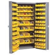 Bin Cabinet with 156 Yellow Bins, 38x24x72