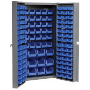 Bin Cabinet with 114 Blue Bins, 38x24x72