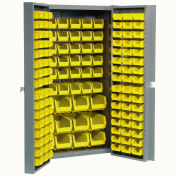 Bin Cabinet with 144 Yellow Bins, 38x24x72