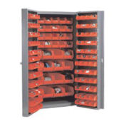 Bin Cabinet with 136 Red Bins, 38x24x72