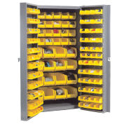 Bin Cabinet with 136 Yellow Bins, 38x24x72