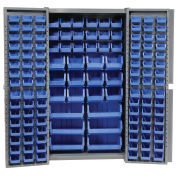 Bin Cabinet with 132 Blue Bins, 38x24x72