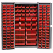 Bin Cabinet with 132 Red Bins, 38x24x72