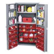 Bin Cabinet with 72 Red Bins, 38x24x72