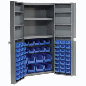 Bin Cabinet with 68 Blue Bins, 38x24x72
