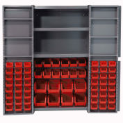 Bin Cabinet with 68 Red Bins, 38x24x72