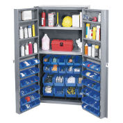 Bin Cabinet with 64 Blue Bins, 38x24x72