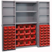 Bin Cabinet with 64 Red Bins, 38x24x72