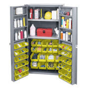 Bin Cabinet with 64 Yellow Bins, 38x24x72