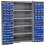 Bin Cabinet with 96 Blue Bins, 38x24x72