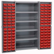 Bin Cabinet with 96 Red Bins, 38x24x72