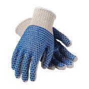 PIP Men String Gloves with Grip Blocks, White/Blue, M/L, 12 Pairs