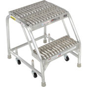 """Tri Arc WLAR002165 2 Step Aluminum Rolling Ladder, 16""""W Grip Step, W/O Handrails"""