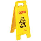 Rubbermaid Floor Sign 2 Sided, Caution Wet Floor, 6112-77