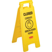 Rubbermaid Floor Sign 2 Sided Multi-Lingual, Closed
