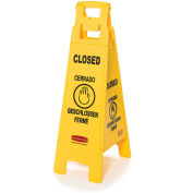 Rubbermaid 4 Sided Multi-Lingual Floor Sign, Closed