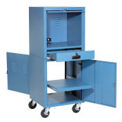"Mobile Security Computer Cabinet, Blue, 24-1/2""W x 22-1/2""D x 60-3/8""H"