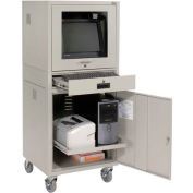"Mobile Security Computer Cabinet, Gray, 24-1/2""W x 22-1/2""D x 60-3/8""H"