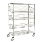 "5 Shelf Adjustable Mobile Wire Bin Rack, 48""W x 24""D x 69""H"