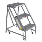"Tri Arc KDSR003162 Grip 16""W 3 Step Steel Rolling Ladder 10""D Top Step"