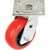 """Faultless Swivel Plate Caster, 5"""" Polyurethane Wheel"""