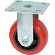 "Faultless Rigid Plate Caster, 5"" Polyurethane Wheel"