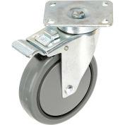 """Faultless Total Lock Swivel Plate Caster, 5"""" Polyurethane Wheel"""
