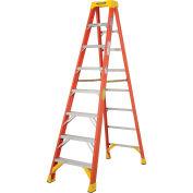 Werner 6208 8' Fiberglass Step Ladder w/ Plastic Tool Tray 300 lb. Cap