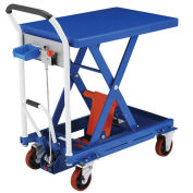 Mobile Scissor Lift Table with Hook-on Bin, 29 x 19 Platform, 660 Lb. Capacity